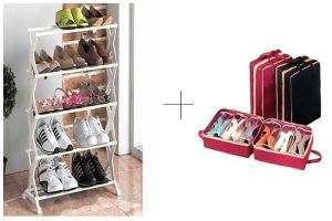 Buy 5 Tier Foldable Stainless Steel Shoe Rack With Shoe Tote - 5trstsr