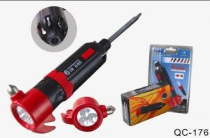 6 In 1 Multi Screwdriver 3 LED Light Torch With Hammer Belt Cutter