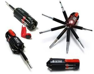 Set Of 2 8 In 1 Multi Screwdriver Torch Portable Screw Driver Tool Kit