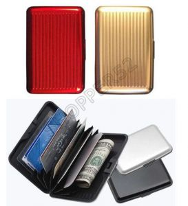 Set Of 2 Data Secure Aluminum Indestructible Wallet Red Silver
