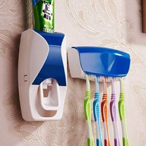 Home Decor & Furnishing - Automatic Toothpaste Dispenser Squeezer With Wall Mounted Toothbrush Holder - (Code- ATHHPSD)