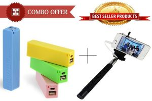 Buy Combo Offer! 2600mah Power Bank Selfie Stick With Aux Wire - Cm13sax