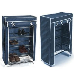 Shoe racks - Portable Folding 4 Layer Tier Shoe Rack With Wardrobe Cover Durable Js