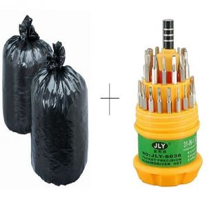 Kitchen cleaning equipments - Buy Disposables Garbage Bag 60 Pcs With Free Jackly 31 In 1 Screwdriver Set Toolkit - GBR60TL