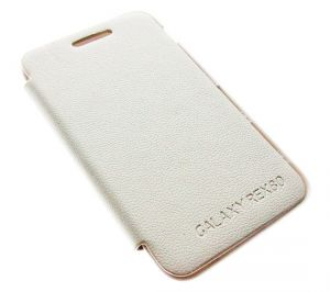 White Samsung Galaxy Rex 80 S5222r Leather Flip Back Case