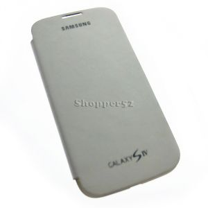 White Samsung Galaxy S4 I9500 Leather Flip Cover Back Case