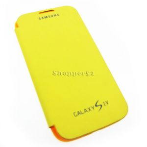 Yellow Samsung Galaxy S4 I9500 Leather Flip Cover Back Case