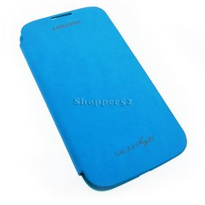 Blue Samsung Galaxy S4 I9500 Leather Flip Cover Back Case
