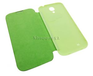 Green Samsung Galaxy S4 I9500 Leather Flip Cover Back Case