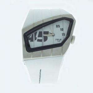White Mens Stylish Wrist Watch Fiber Belt