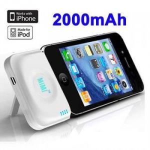 2000mAh MiMi Power Bank External Battery Stand For IPhone 4 & 4S / 3G Red,Pink,Blue,White,Black