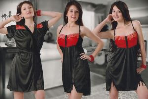 Nightgown Sets - Black and Red Satin 2 Pcs Comfortable to wear 3/4 Nighty
