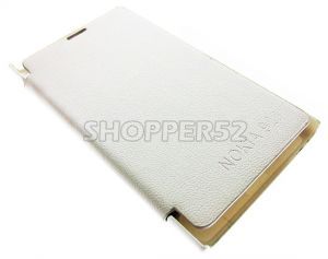 White Nokia Lumia 920 Leather Flip Cover Back Case