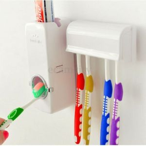 Bathroom Accessories - Cartoon Automatic Toothpaste Dispenser With Toothbrush Holder