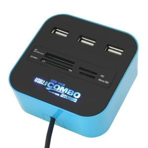 All In One Card Reader 3 Port USB Hub 2.0