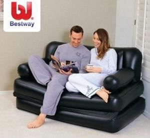 Best Way Branded Velvet Inflatable 5 In 1 Sofa Bed