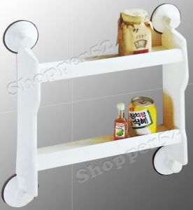 Two Layer Home Kitchen Wall Storage Rack Shelf With Suction Cup Tiles