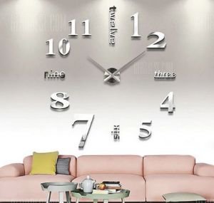 Clocks - DIY Wall Clock 3D Sticker Home Office Decor 3D Wall Clock - (Code- T4215S)