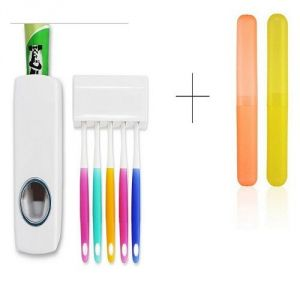 Automatic Toothpaste Dispenser With 2 PCs Toothbrush Case Holder Cover Box Tube - Tbox2tdis
