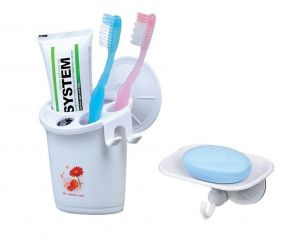 Shopper52 Portable Suction Cup Toothbrush Case With Soap Dispenser - Thpcsp