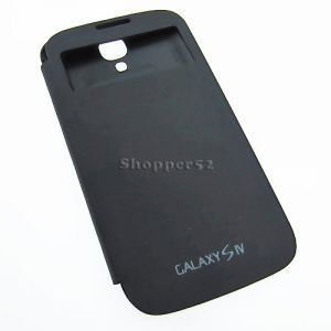 Black Samsung Galaxy S4 I9500 Table Talk Leather Flip Cover Back Case