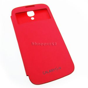 Red Samsung Galaxy S4 I9500 Table Talk Leather Flip Cover Back Case