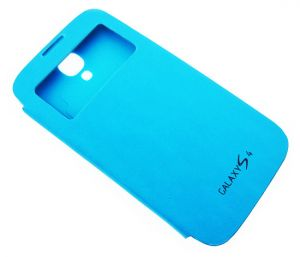 Sky Blue Samsung Galaxy S4 I9500 Table Talk Leather Flip Cover Back Case