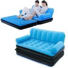5 In 1 Velvet Air Sofa Cum Inflatable Lounge Bed-blue Js