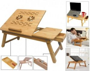 Laptop Accessories - Portable Multipurpose Laptop Wooden E-Table For Study Reading