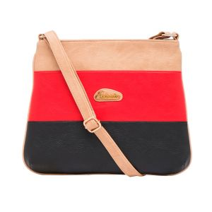 Esbeda Beige Color Stripe Pu Synthetic Material Slingbag_ 1742 For Women