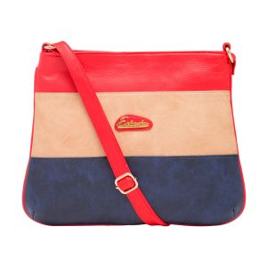 Esbeda Red Color Stripe Pu Synthetic Material Slingbag_ 1743 For Women