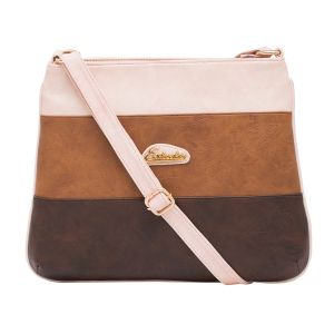 Esbeda Pink Color Stripe Pu Synthetic Material Slingbag_ 1744 For Women