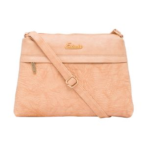 Esbeda Beige Color Stripe Pu Synthetic Material Slingbag_ 1748 For Women