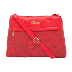 Esbeda Red Color Stripe Pu Synthetic Material Slingbag_ 1749 For Women
