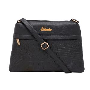 Esbeda Black Color Stripe Pu Synthetic Material Slingbag_ 1750 For Women