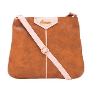 Esbeda Tan Color Stripe Pu Synthetic Material Slingbag_ 1756 For Women