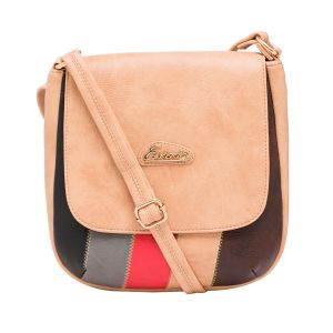 Esbeda Beige Color Stripe Pu Synthetic Material Slingbag_ 1759 For Women