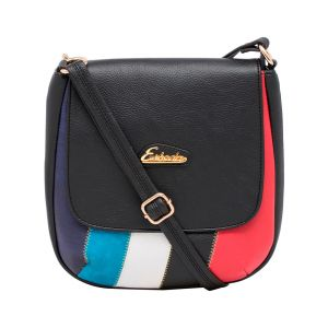 Esbeda Black Color Stripe Pu Synthetic Material Slingbag_ 1760 For Women