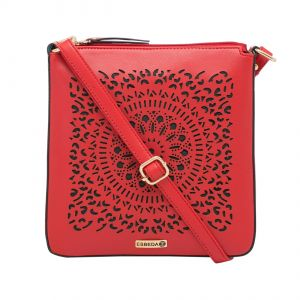 Esbeda Red Cutwork Pu Synthetic Material Slingbag For Women-1771