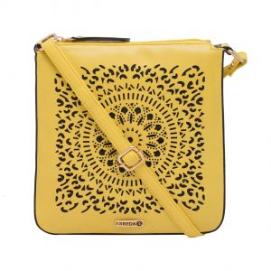 ESBEDA Yellow Cutwork Pu Synthetic Material Slingbag For Women-1776