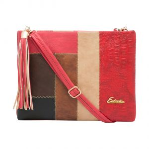 ESBEDA Red Stripe Pu Synthetic Material Slingbag For Women-1778