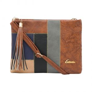 Handbags - ESBEDA Tan Stripe Pu Synthetic Material Slingbag For Women-1780