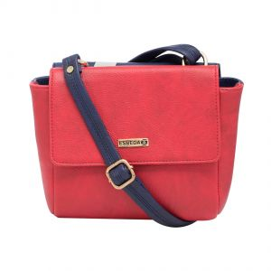 Esbeda Red-d Blue Solid Pu Synthetic Material Two Sided Slingbag For Women-1786