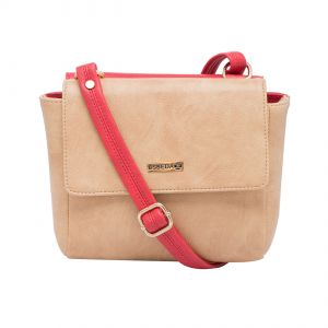 Esbeda Red-beige Solid Pu Synthetic Material Two Sided Slingbag For Women-1787