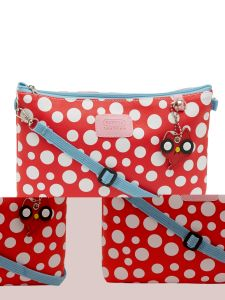 ESBEDA Red Color Polka Dots Print Nylon Material Slingbag For Women-1793