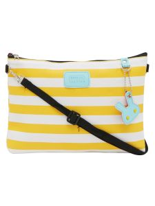 Esbeda Yellow Color Stripe Pattern Nylon Material Slingbag For Women-1794