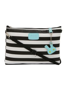 Esbeda Black Color Stripe Pattern Nylon Material Slingbag For Women-1797