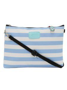 ESBEDA Light Blue Color Stripe Pattern Nylon Material Slingbag For Women-1799