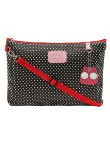 ESBEDA Black Color Polka Dots Print Nylon Material Slingbag For Women-1812