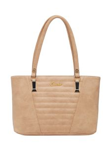 Esbeda Beige Checks Pu Synthetic Fabric Handbag For Women-1836
